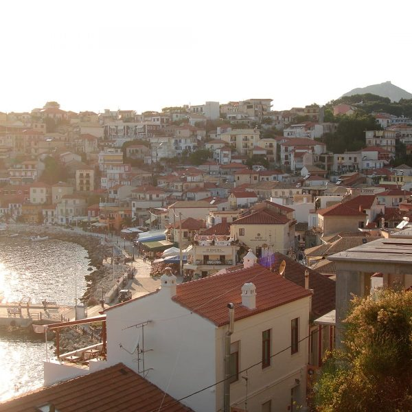 Panoramic view of the town of Parga, the town with the traditional houses.